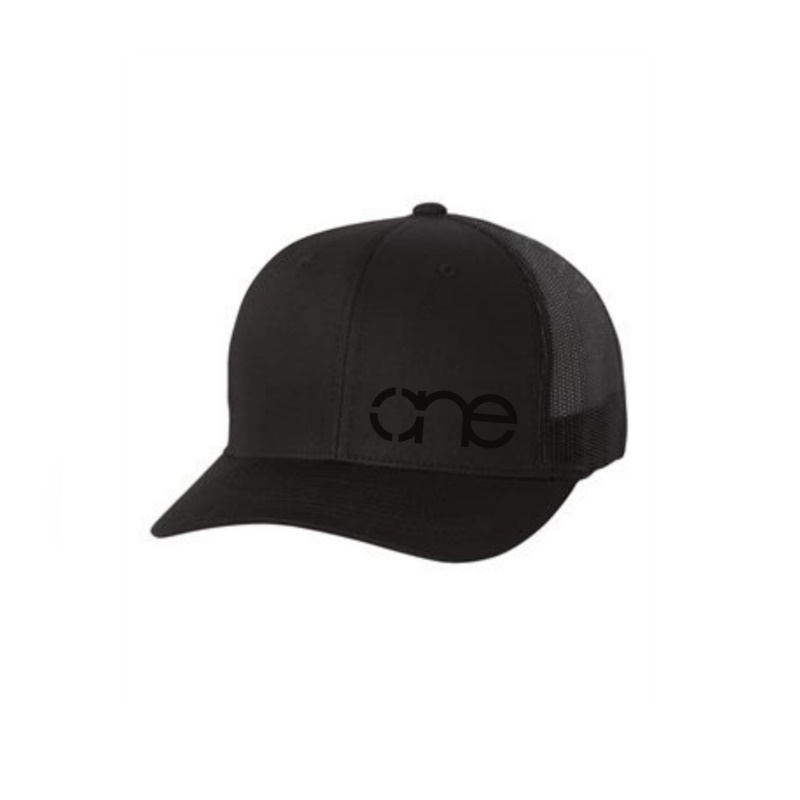 "Solid Black ""One"" Trucker Hat with Black logo, Yupoong Classics snapback."