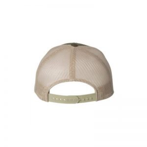 "Olive and Khaki ""One"" Trucker Hat with Khaki logo, Yupoong Classics snapback, rear view."