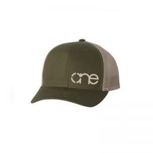 """Olive and Khaki """"One"""" Trucker Hat with Khaki logo, Yupoong Classics snapback."""
