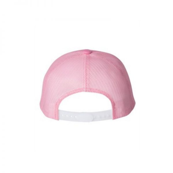 "Solid Pink ""One"" Trucker Hat with Pink logo, Yupoong Classics snapback, rear view."