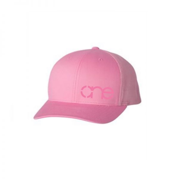 "Solid Pink ""One"" Trucker Hat with Pink logo, Yupoong Classics snapback."