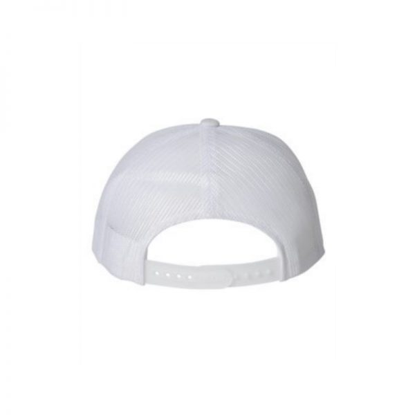 "Solid White ""One"" Trucker Hat with White logo, Yupoong Classics snapback, rear view."