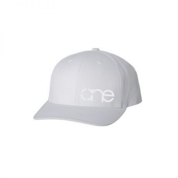 "Solid White ""One"" Trucker Hat with White logo, Yupoong Classics snapback."