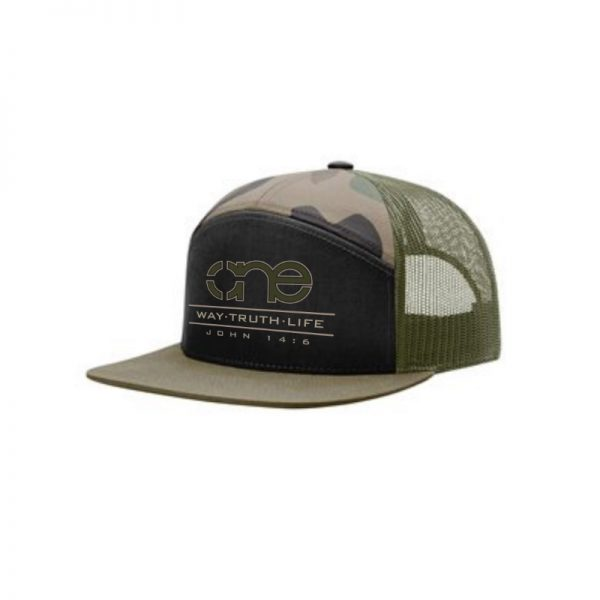 One Way Truth Life Hi-Pro 7 Panel Richardson Trucker Hats in Green Camo and Olive.