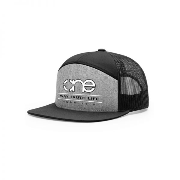 One Way Truth Life Hi-Pro 7 Panel Richardson Trucker Hats in Heather Grey and Black.