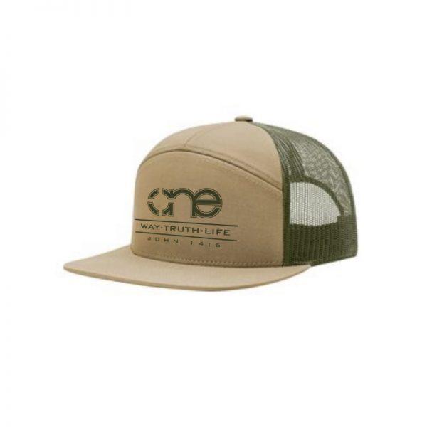 One Way Truth Life Hi-Pro 7 Panel Richardson Trucker Hats in Khaki and Olive.