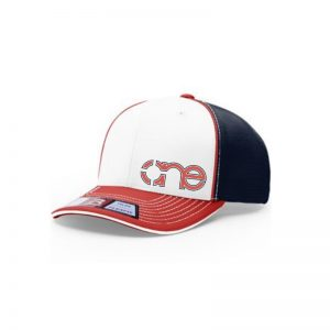 White, Navy Blue and Red R-Active Flexfit Cap with Red One logo with Navy Blue outline.