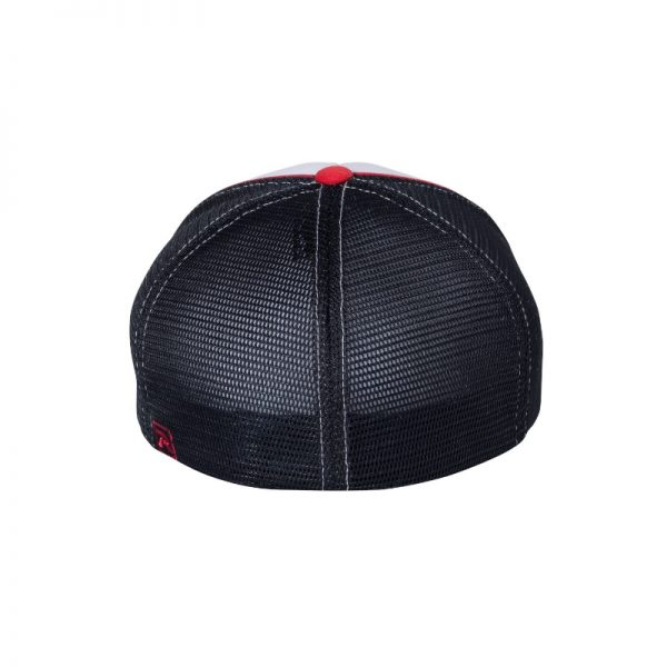 White, Navy Blue and Red R-Active Flexfit Cap with Red One logo with Navy Blue outline, back of the hat.