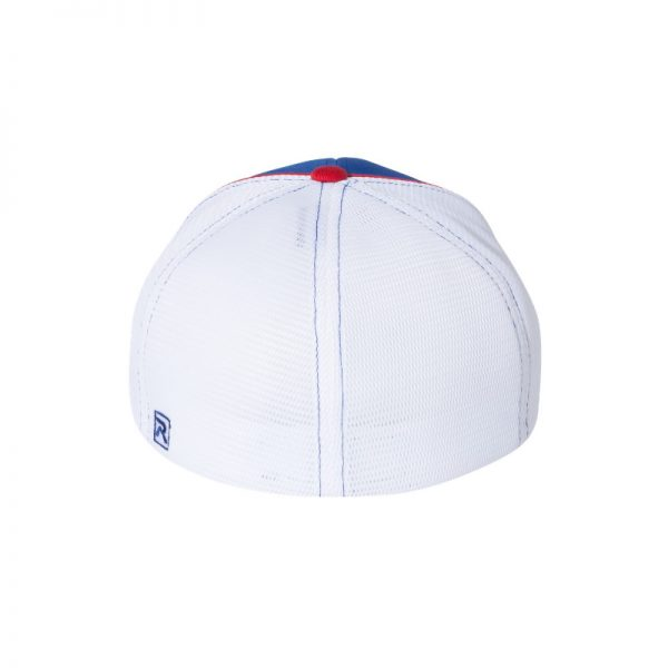 Royal Blue, White and Red R-Active Flexfit Cap with Red One logo with White outline, back of the hat.