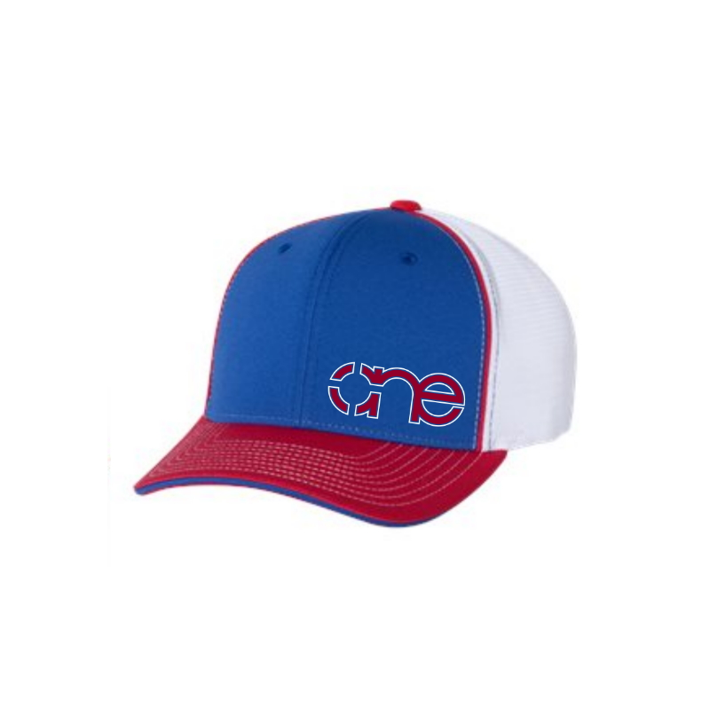 Royal Blue, White and Red R-Active Flexfit Cap with Red One logo with White outline.