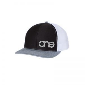"Black, White and Heather Grey ""One"" Trucker Hat with Grey and White logo, snapback."