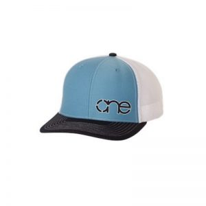 "Carolina Blue, White and Navy Blue ""One"" Trucker Hat with White and Navy Blue logo, snapback."