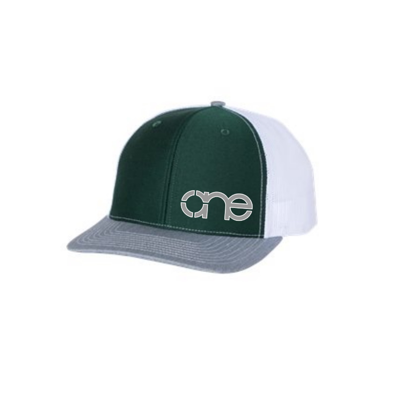 "Dark Green, White and Heather Grey ""One"" Trucker Hat with Grey and White logo, snapback."