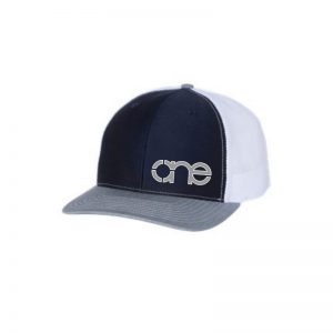 """Navy Blue, White and Heather Grey """"One"""" Trucker Hat with Grey and White logo, snapback."""