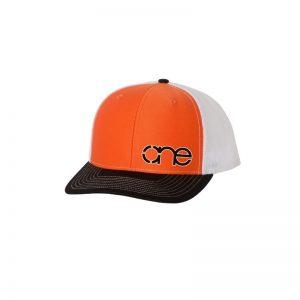 "Orange, White and Black ""One"" Trucker Hat with White and Black logo, snapback."
