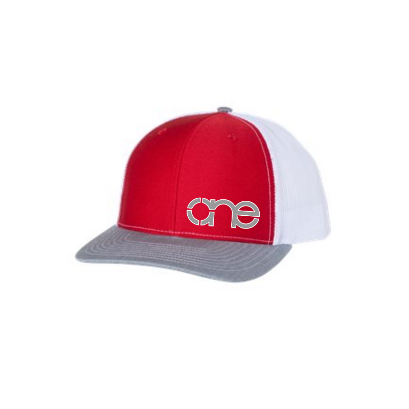 "Red, White and Heather Grey ""One"" Trucker Hat with Grey and White logo, snapback."