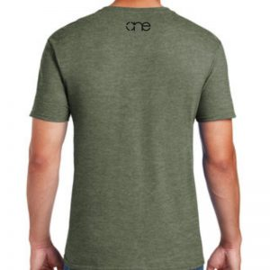 Men's heather military green short sleeve Christian tee shirt with One logo on back.