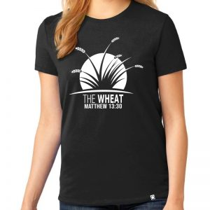 "Ladies black short sleeve ""The Wheat"" Christian tee shirt."