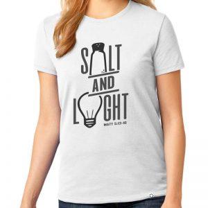 "Ladies white short sleeve ""Salt and Light"" Christian tee shirt."