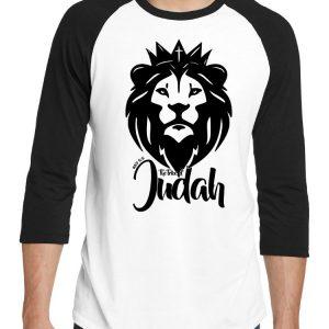 "Men's black and white 3/4 short sleeve ""The Lion of the Tribe of Judah"" Christian tee shirt."