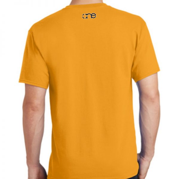 Men's gold short sleeve Christian tee shirt with One logo on back.