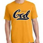 "Men's gold short sleeve ""Trust God"" Christian tee shirt."
