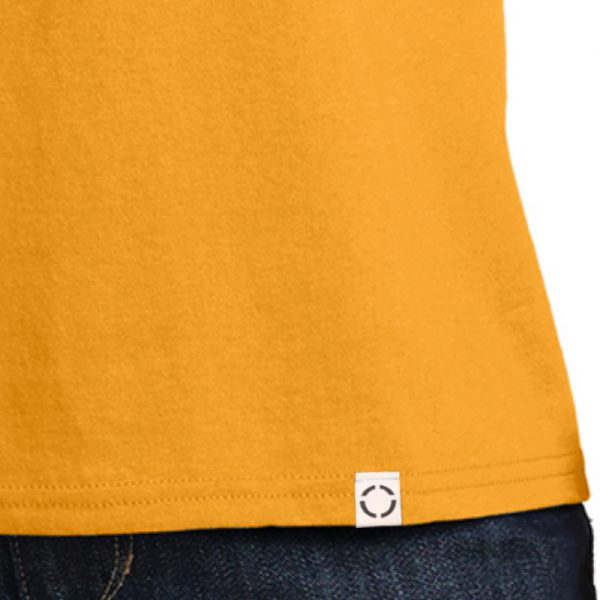 Men's gold short sleeve Christian tee shirt with One woven label.