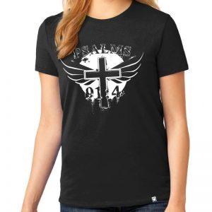 """Ladies black short sleeve """"Wings of God"""" Christian tee shirt."""