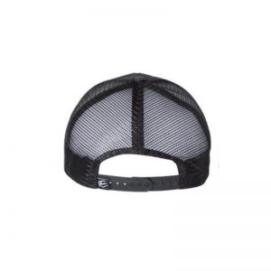 """Black, """"One"""" Trucker Hat with USA Flag Embossed in cap. Black embroidery of the One logo with a White outline, view of snapback."""