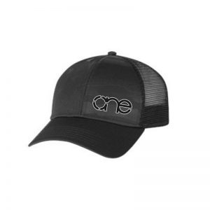 """Black, """"One"""" Trucker Hat with USA Flag Embossed in cap. Black embroidery of the One logo with a White outline, snapback."""