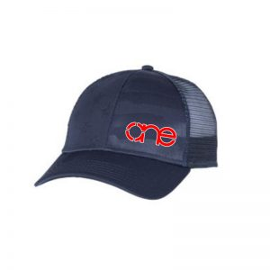 """Navy Blue, """"One"""" Trucker Hat with USA Flag Embossed in cap. Red embroidery of the One logo with a White outline, snapback."""