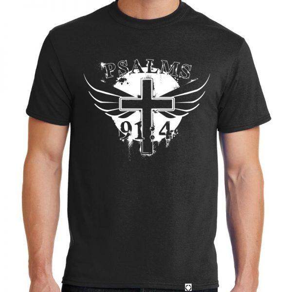 """Men's black short sleeve """"Wings of God"""" Christian tee shirt."""